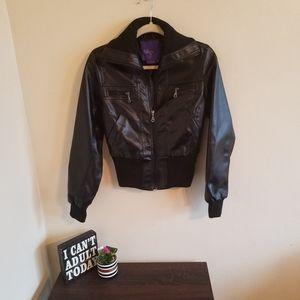 •Miley Cyrus Max Azria• Black Fuax Leather Jacket